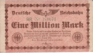 1 Million Mark Berlin, Reichsbahn 1923 Niemcy VF (III)