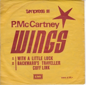 Wings - With A Little Luck / Backward's Traveller - Cuff Link  SP